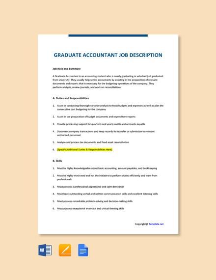 Free Graduate Accountant Job Ad and Description Template