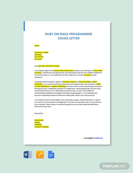 Free Ruby On Rails Programmer Cover Letter Template