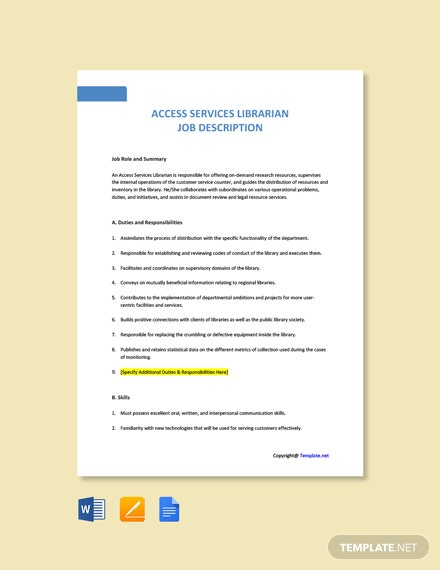 Free Access Services Librarian Job Ad and Description Template