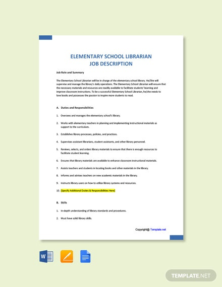 Free Elementary School Librarian Job Ad and Description Template