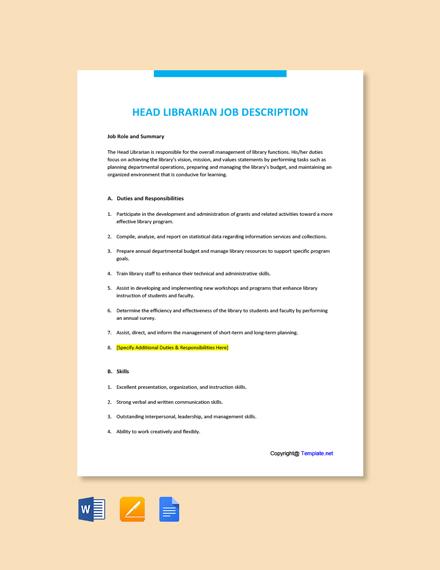 Free Head Librarian Job Description Template