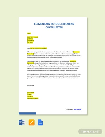 Free Elementary School Librarian Cover Letter Template