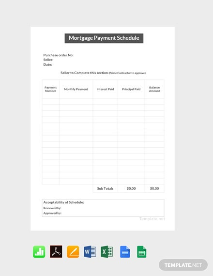 Free Mortgage Payment Schedule Template