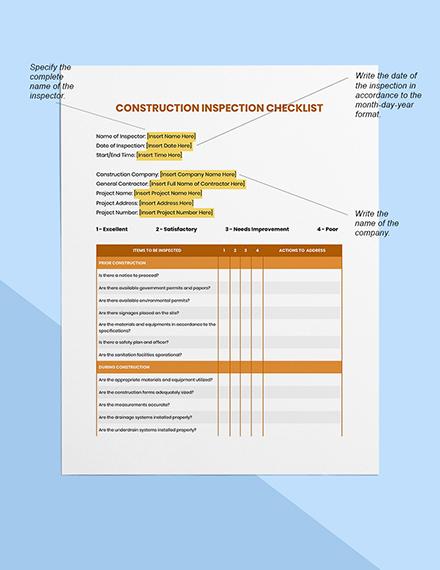 Building Construction Inspection Checklist Sample