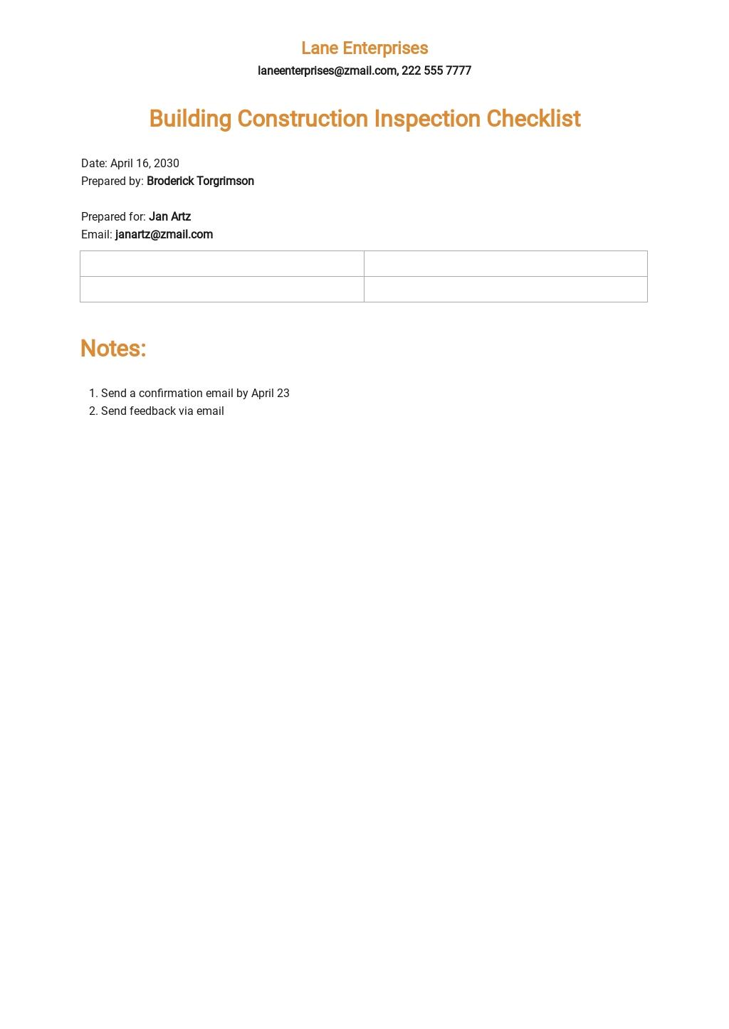 Building Construction Inspection Checklist Template