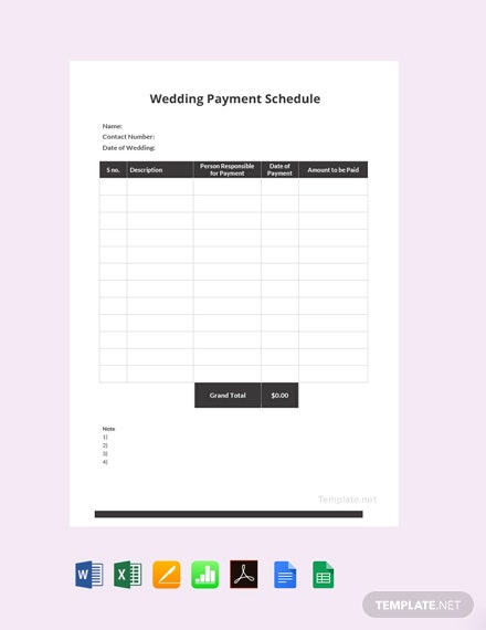 Free Wedding Payment Schedule Template