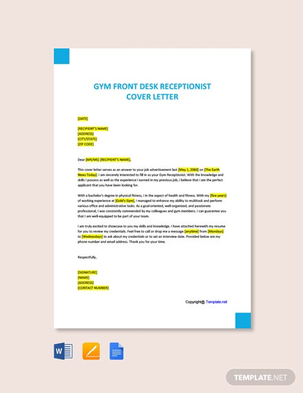 Free Gym Front Desk Receptionist Cover Letter Template