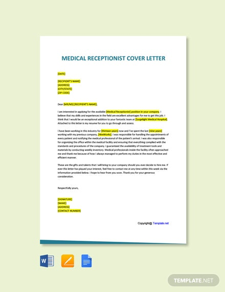 Free Medical Receptionist Cover Letter Template