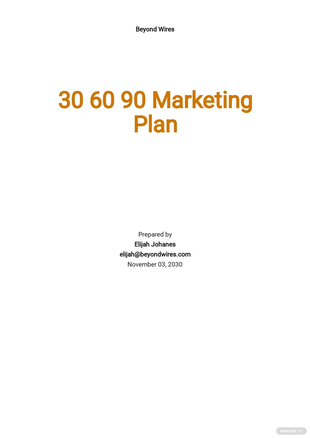 30-60-90-Day Marketing Plan Template