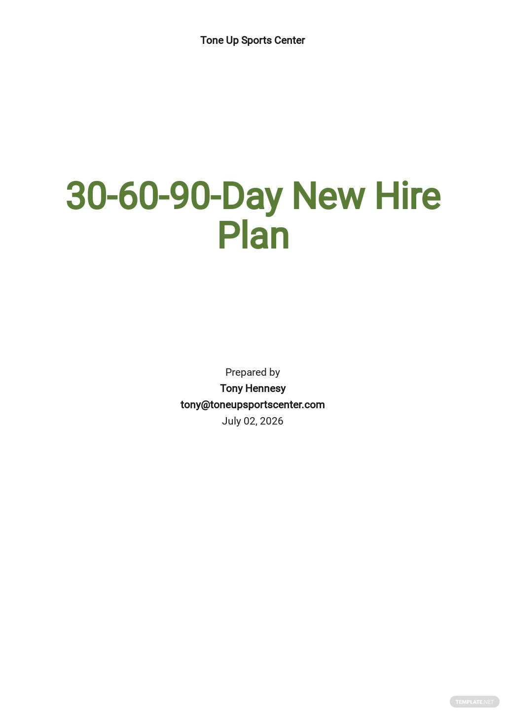 30-60-90-Day New Hire Plan Template