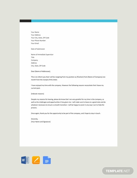 Free Job Resignation Letter Template With a Reason