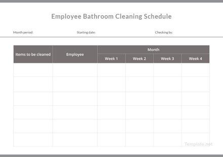 Employee Bathroom Cleaning Schedule Template