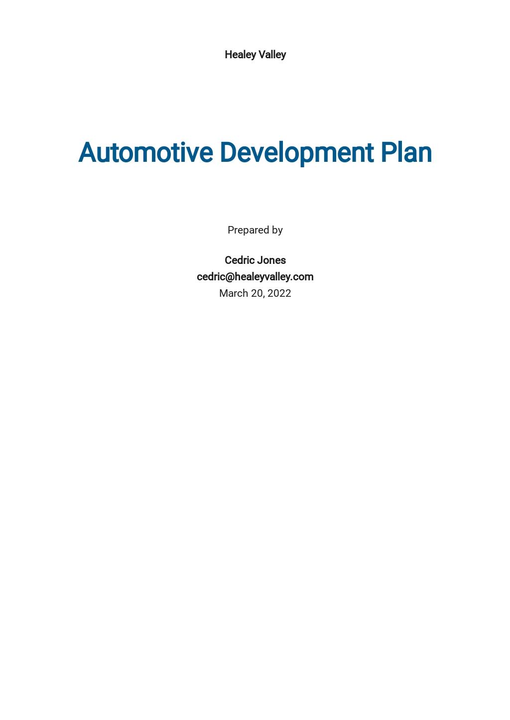 Automotive Development Plan Template
