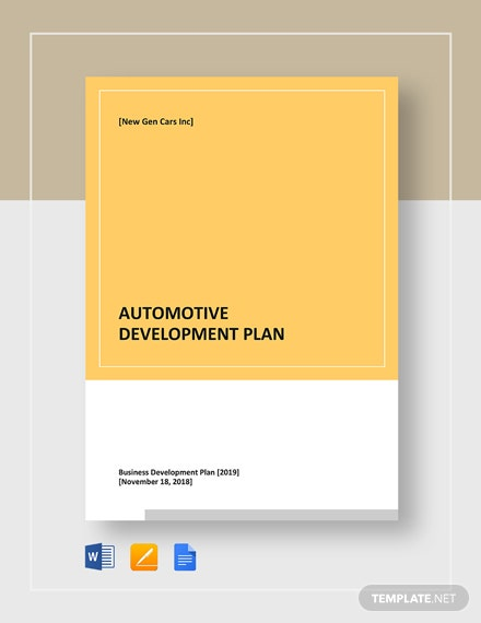 Automotive Development Plan Template