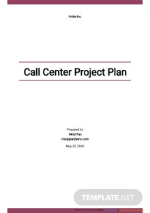 Call Center Project Plan Template