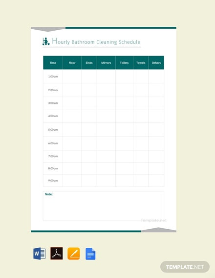 FreeHourlyBathroomCleaningScheduleTemplate