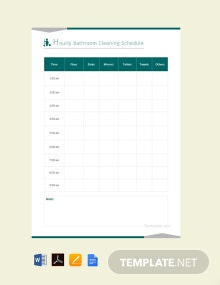 Hourly Bathroom Cleaning Schedule Template