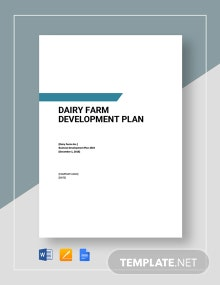 Dairy farm Development Plan Template