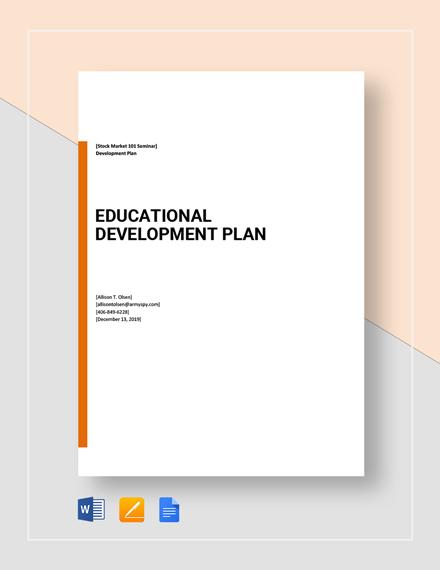 Educational Development Plan Template