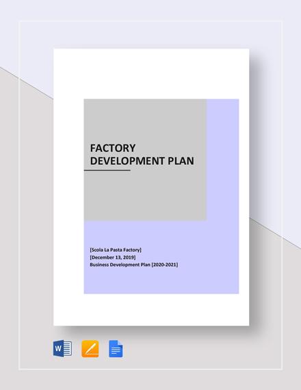 Factory Development Plan Template