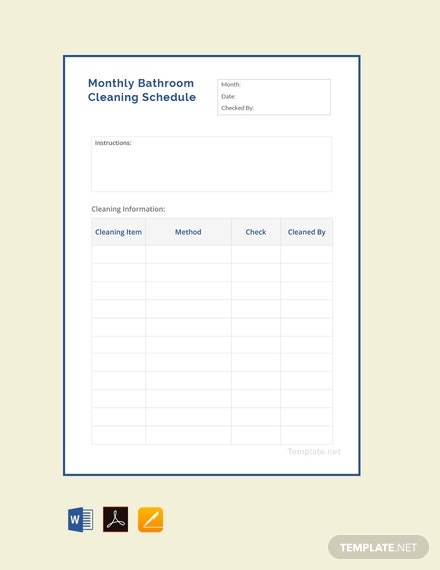 Free Monthly Bathroom Cleaning Schedule Template