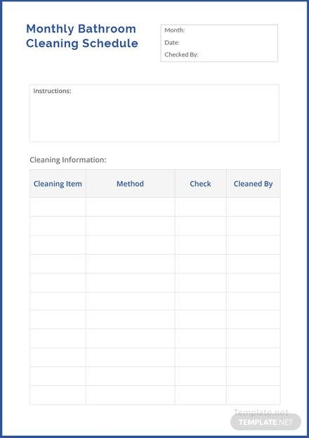 monthly bathroom cleaning schedule template download 128 schedules
