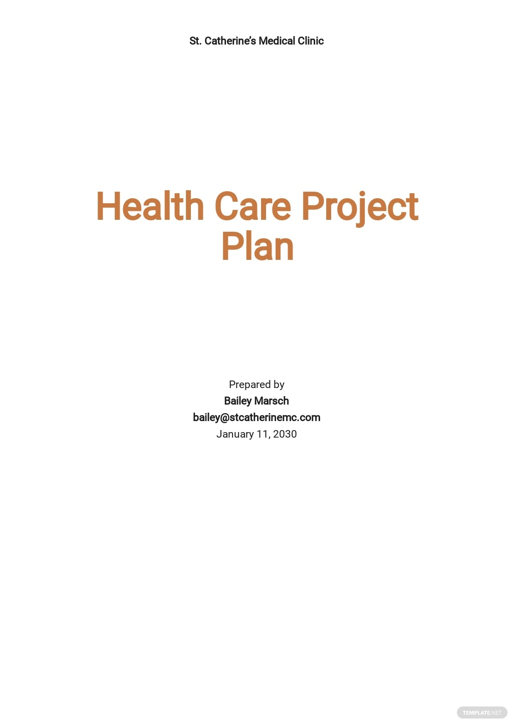 Health Care Project Plan Template