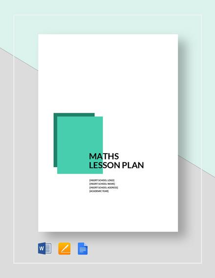 Maths Lesson Plan Template