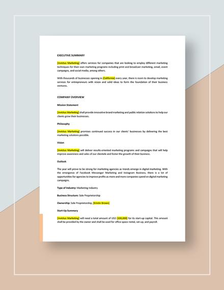 Marketing Agency Business Development Plan Download