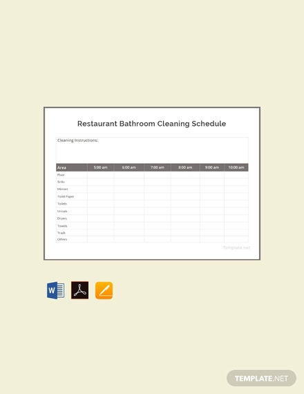 Free Restaurant Bathroom Cleaning Schedule Template