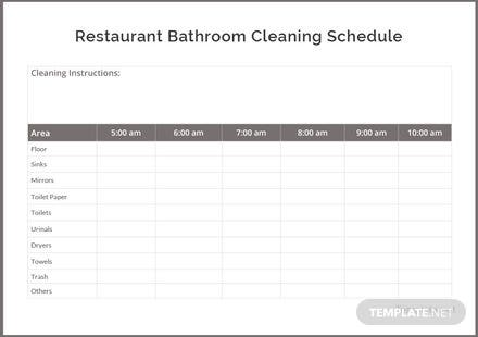 restaurant bathroom cleaning schedule template in microsoft word
