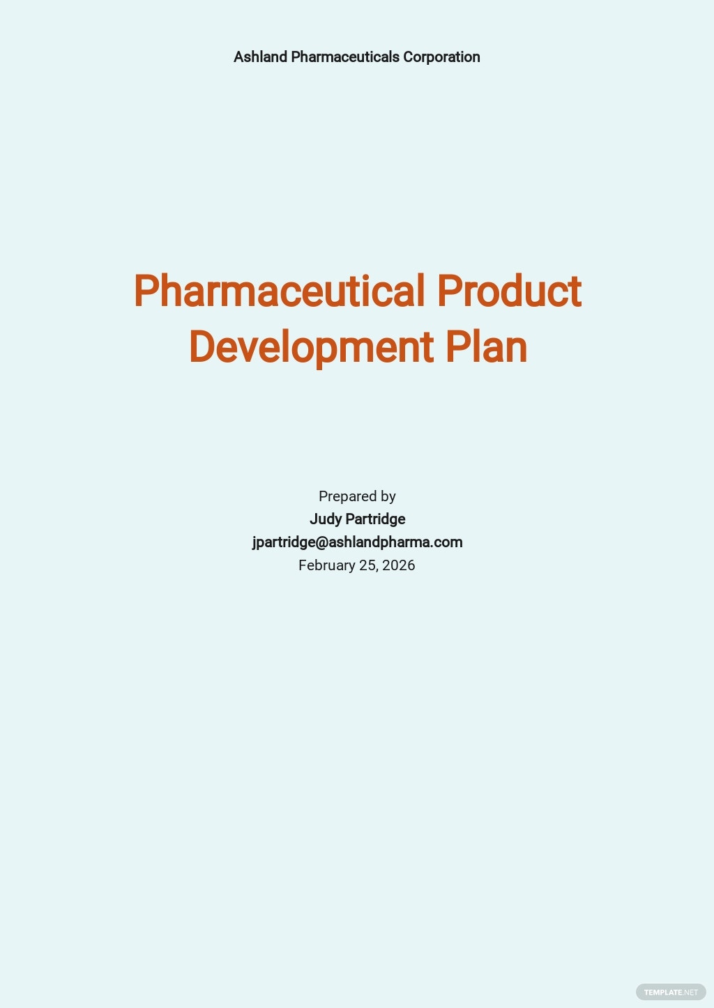 Pharmaceutical product Development Plan Template