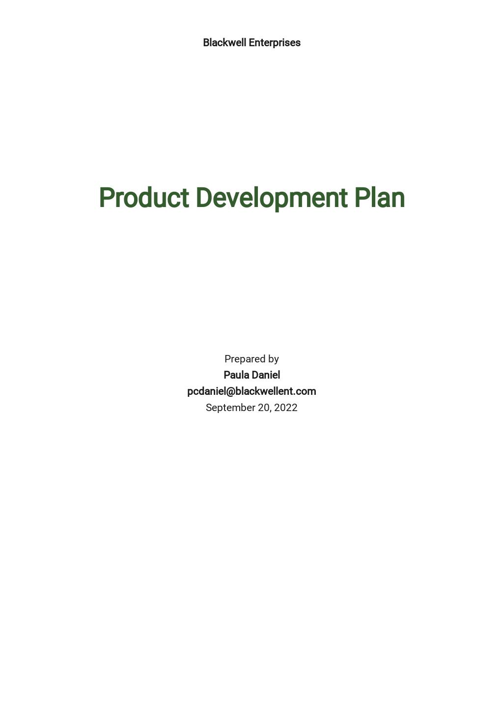 Product Development Plan Template