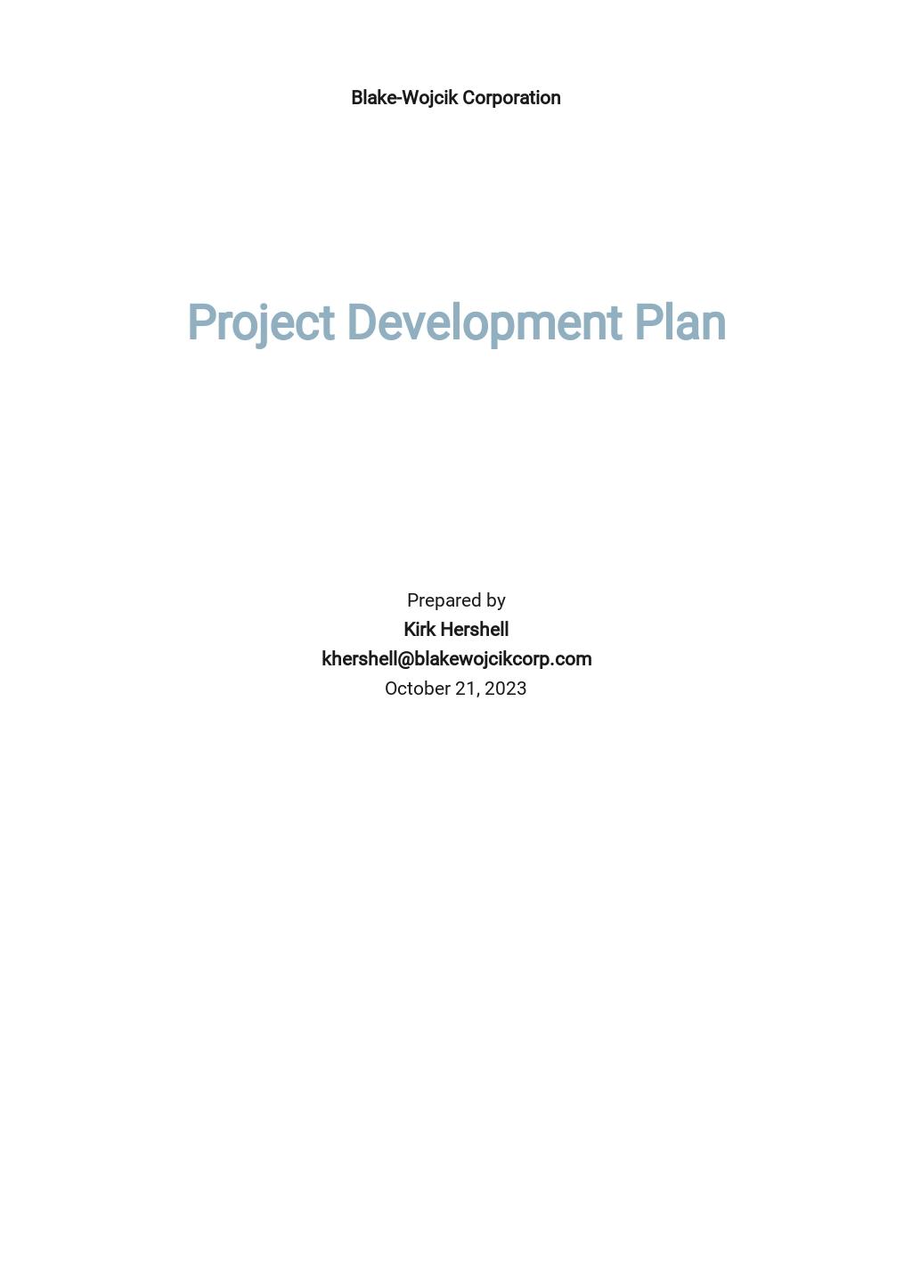 Project Development Plan Template