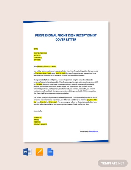 Free Professional Front Desk Receptionist Cover Letter Template