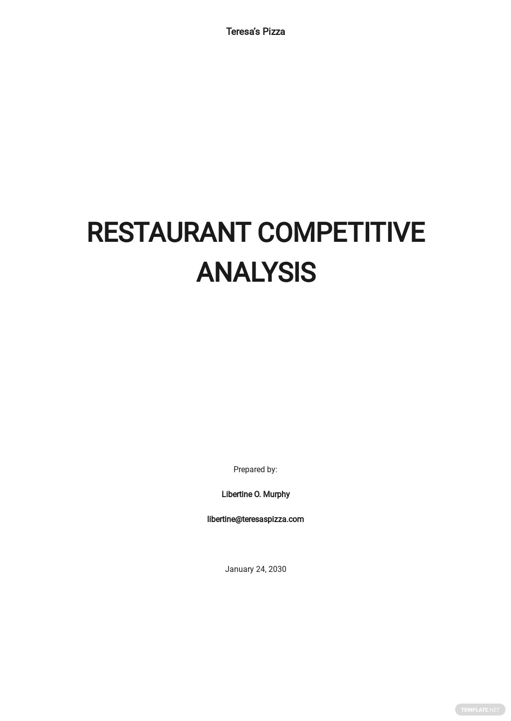 Restaurant competitor analysis template