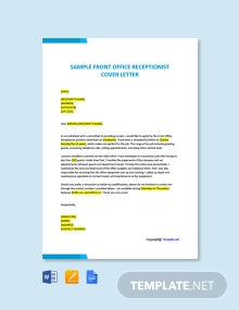 Free Sample Front Office Receptionist Cover Letter Template