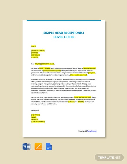 Free Simple Head Receptionist Cover Letter Template