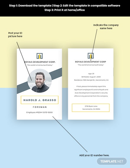Construction Employee ID Card Format