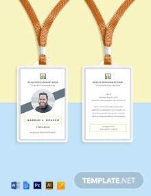 Construction Employee ID Card Template