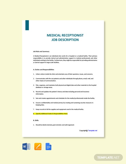 Free Medical Receptionist Job Description Template