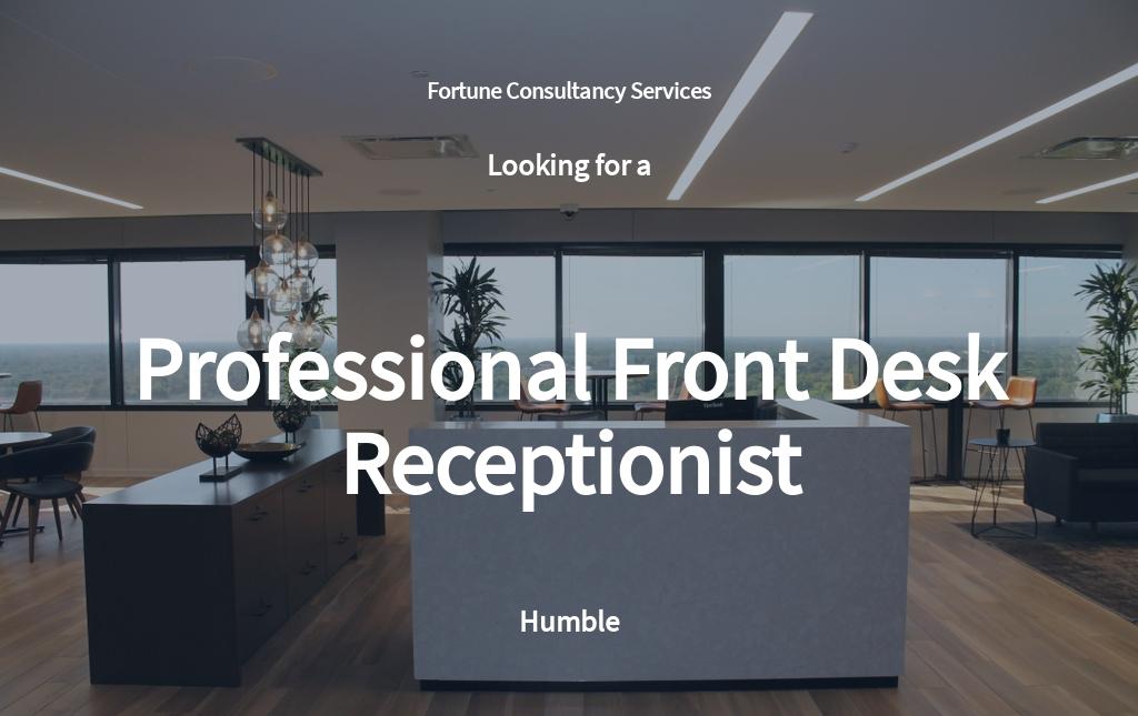 Professional Front Desk Receptionist Job Ad and Description Template