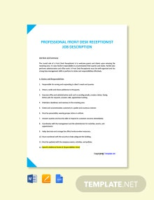 Free Professional Front Desk Receptionist Job Ad and Description Template