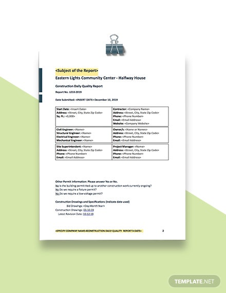 Construction Daily Quality Report Format