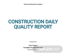 Construction Daily Quality Report Template