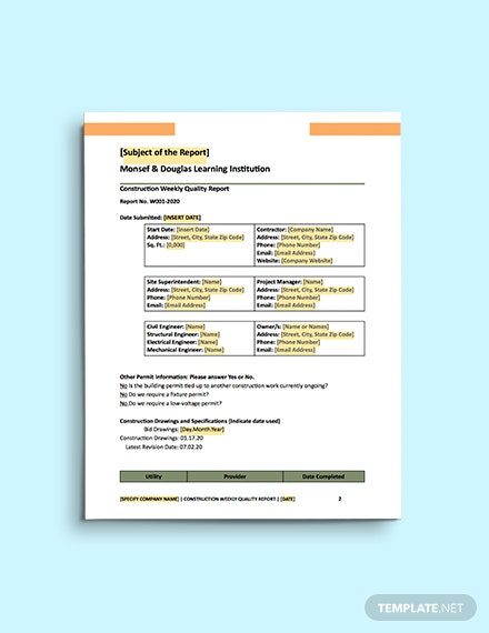 Contractor Daily Report template