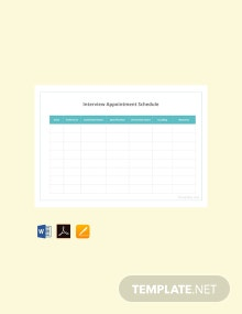 Free Interview Appointment Schedule Template