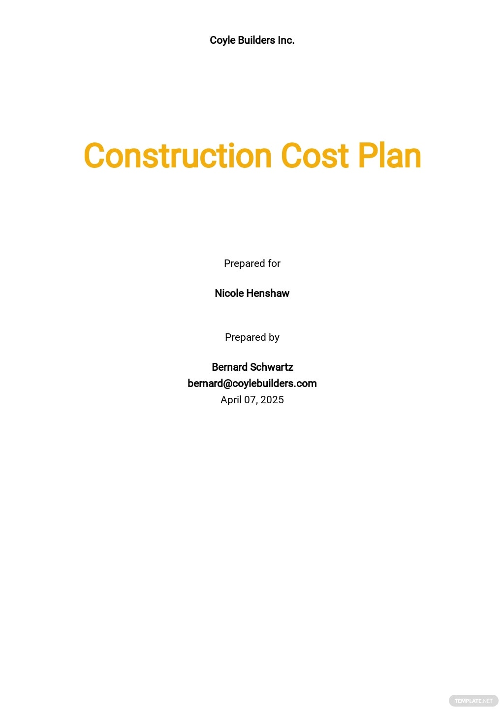 Construction Cost Plan Template