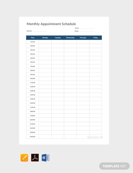 Free Monthly Appointment Schedule Template
