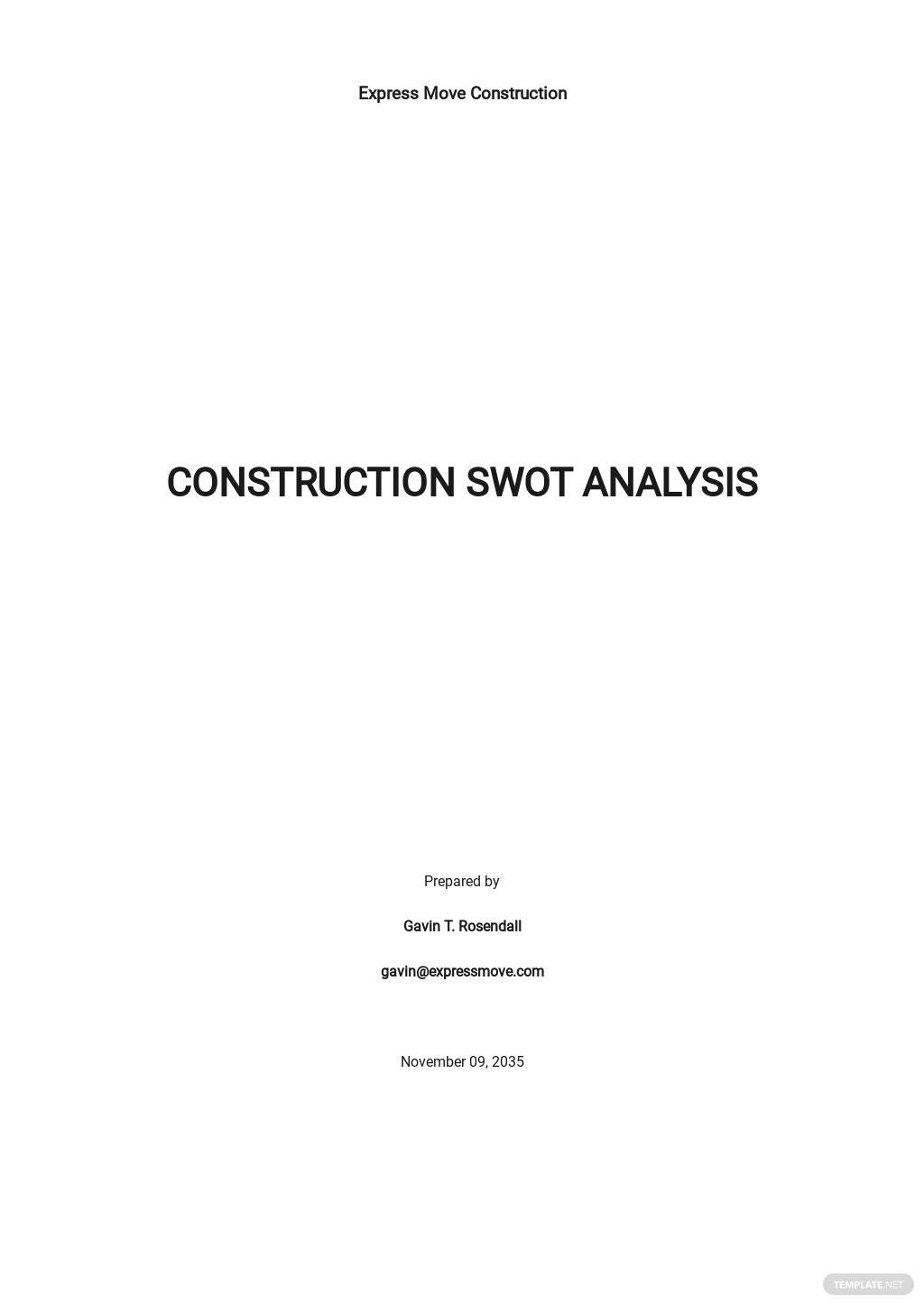 Construction Blank SWOT Analysis Template